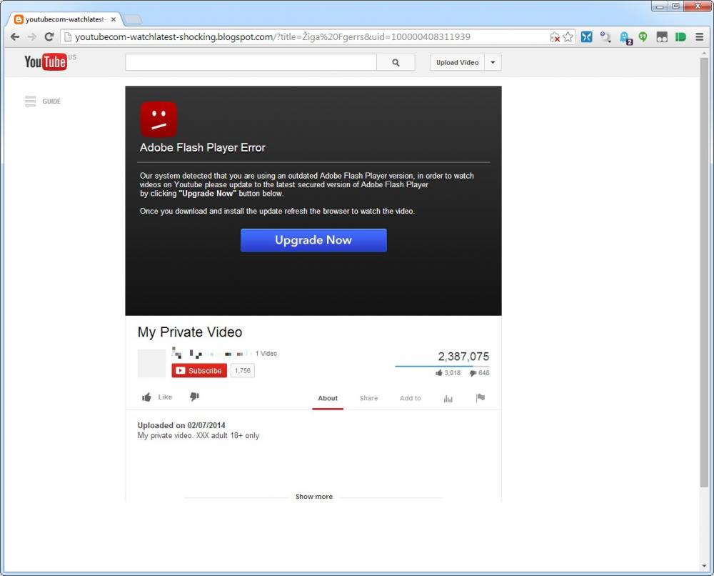 Ponarejena Youtube stran, ki zahteva posodobitev