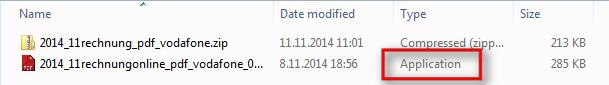 Slika, ki prikazuje, da se pod krinko pdf dokumenta v bistvu skriva program.