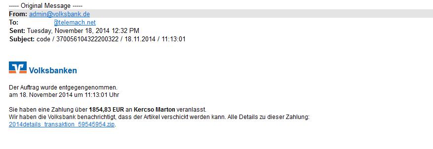 Lažno sporočilo, ki naj bi ga poslalo podjetje Volksbanken
