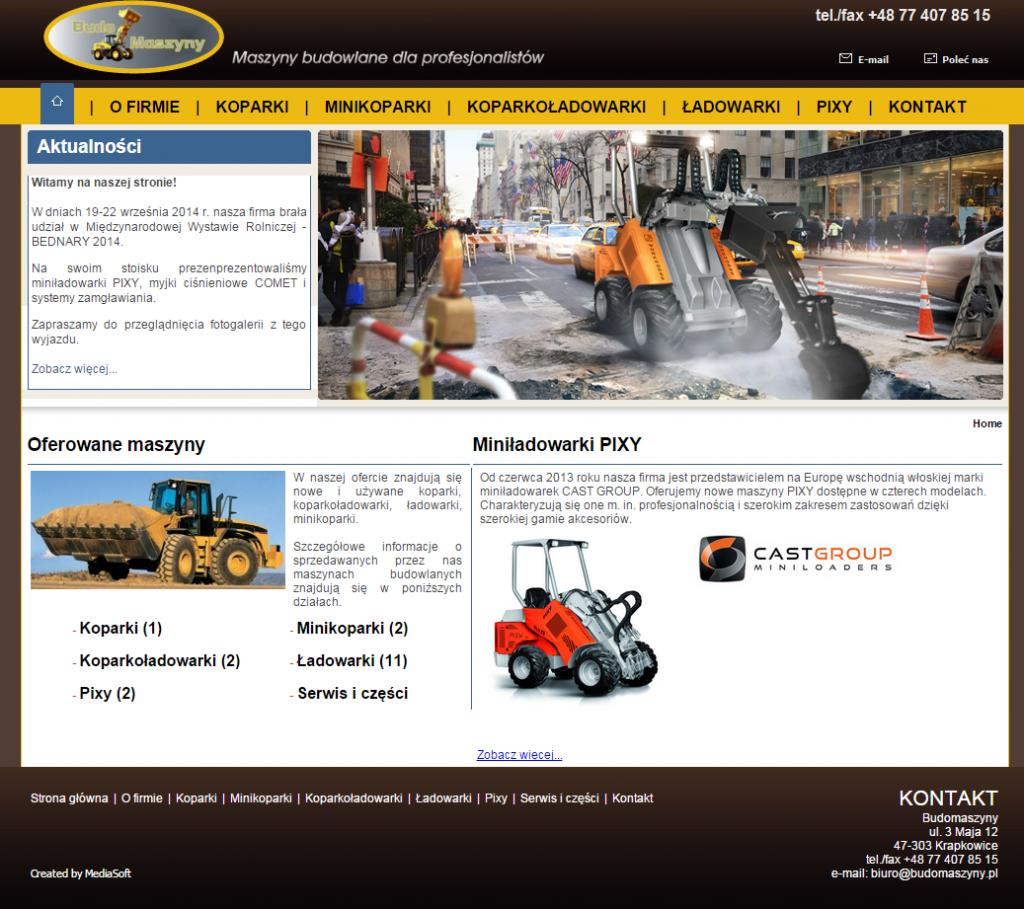 Slika legitimne spletne trgovine z gradbeno mehanizacijo