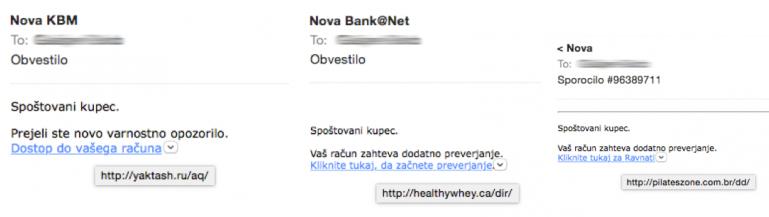 Primer phishing sporočila za vnos gesla