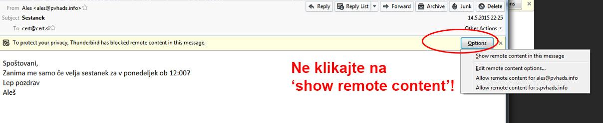 """Pojavno okno v Outlooku z obkroženo možnostjo """"Show remote content""""in napisom """"Ne klikajte!"""""""