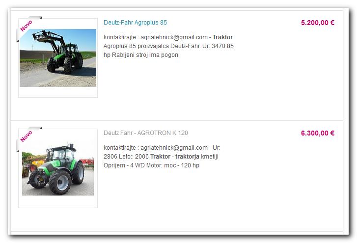 Primer oglasa na portalu Bolha.com