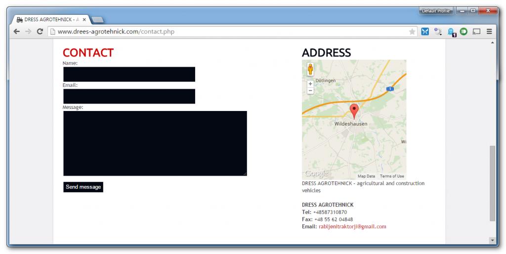 Zaslon spletne strani drees-agrotehnick z lokacijo podjetja