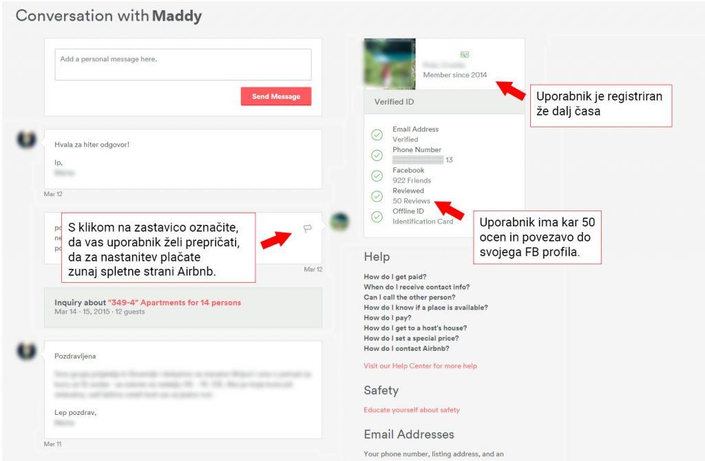 Zaslon, ki prikazuje, kako lahko prijavite poskus prevare na platformi Airbnb.