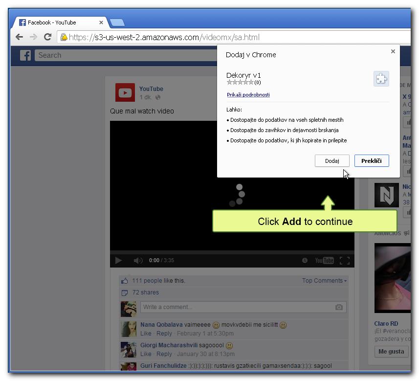Zaslon, na katerem je v ozadju stran z lažnim video posnetkom ter pojavno okno za dodatek razširitve oz. v bistvu virusa