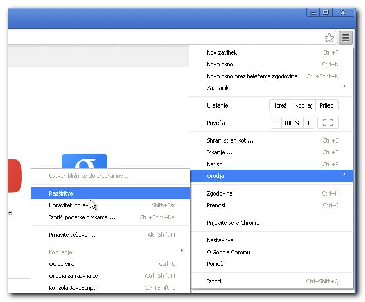 Zaslon, ki prikazuje, kako odstraimo razširitev iz Chrome brskalnika