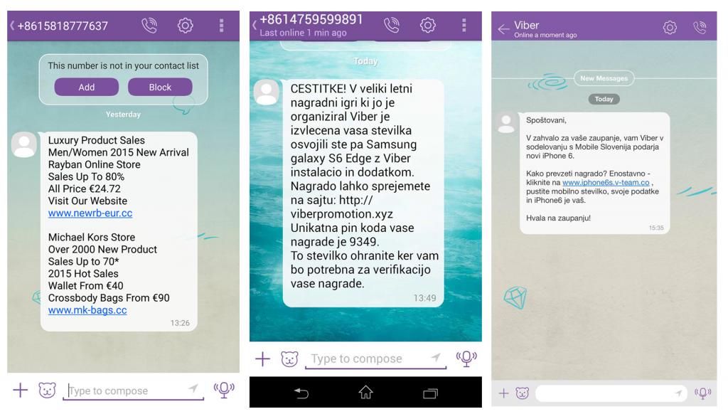Primer lažnih sporočil na Viberju, ki obljubljajo pametne telefone, damske torbice in sončna pčala