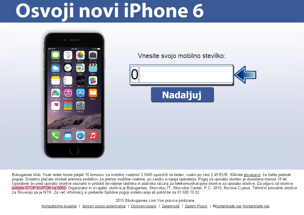 Zaslon druge lažne nagradne igre, na kateri je iPhone6 in okence za vpis telefonske številke
