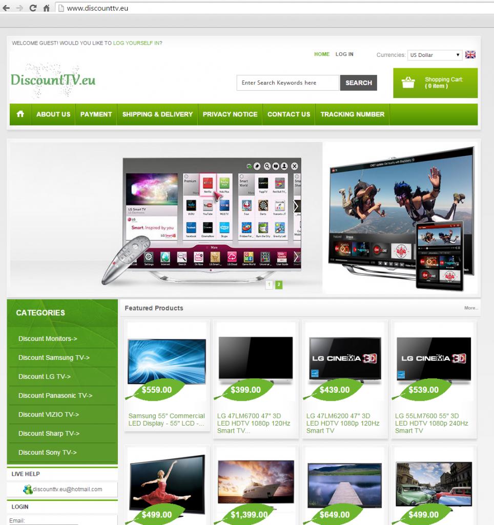 Lažna spletna trgovina s televizorji