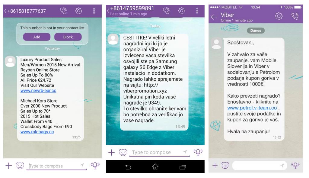 Primeri lažnih Viber sporočil o nagradi, s katerimi nas poskušajo ukaniti, da se včlanimo v SMS klub