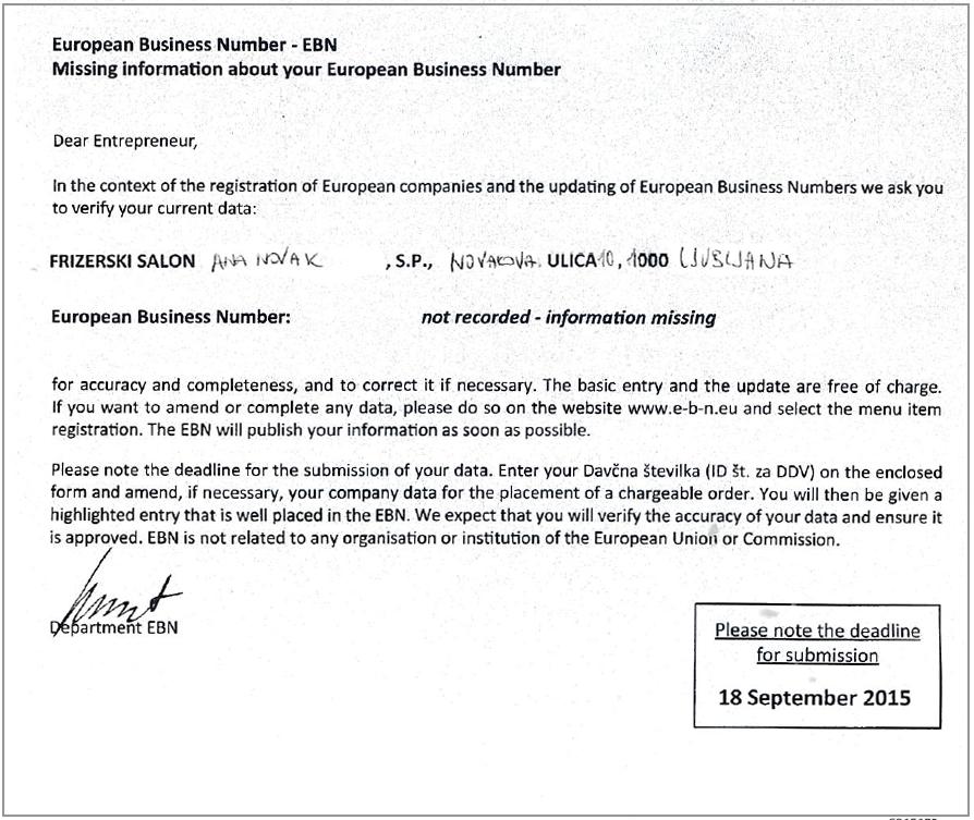 Primer dopisa, ki ga podjetja prejmejo na svoj naslov.