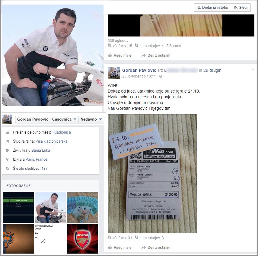 Športne stave pobira navedeni uporabniški Facebook profil. Profil je izmišljen, fotografija je iz spleta.