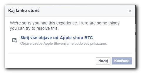 Zaslon, ki prikazuje, kako blokiramo lažno Facebook stran
