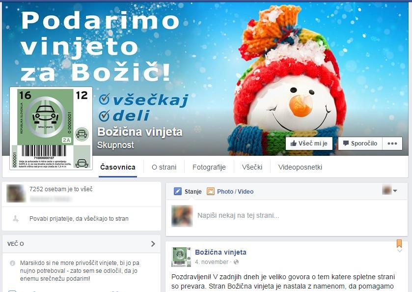 Facebook stran Božična Vinjeta, ki z lažno nagradno igra pridobiva vešečke.