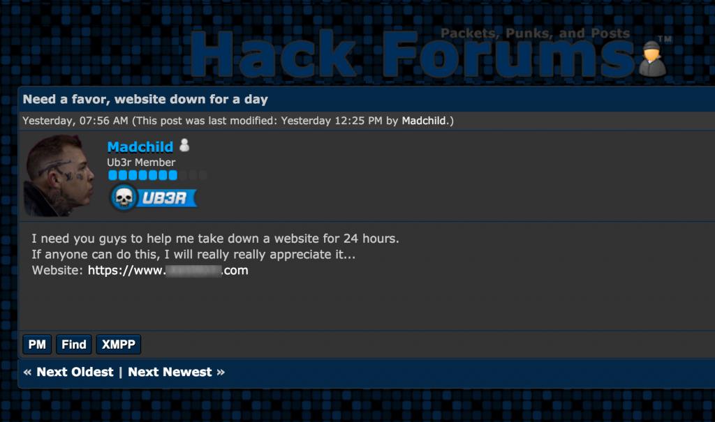 Primer hekerjeve prošnje za pomoč pri napadu na spletno stran.
