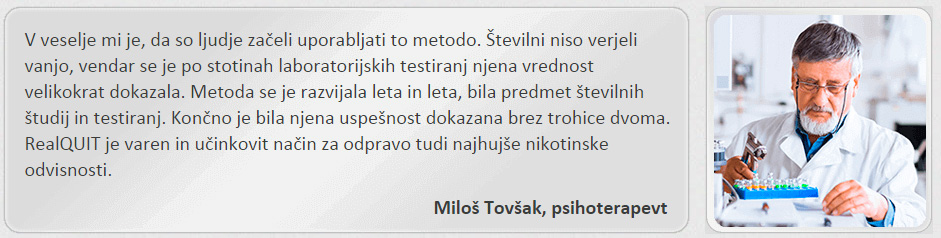 Lažni banner, v katerem naj bi Miloš Tovšak, psihoterapevt, jamčil za RealQuit
