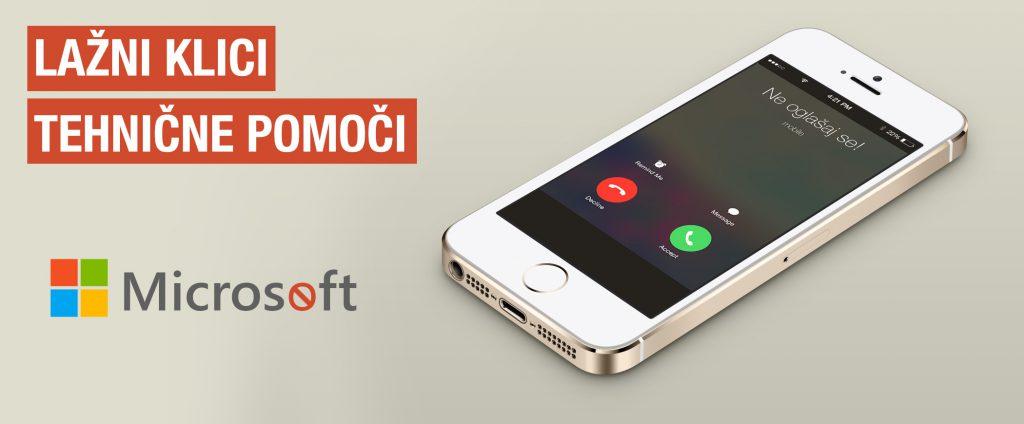"""Slika telefona z napisom """"Lažni klici tehnične pomoči"""""""
