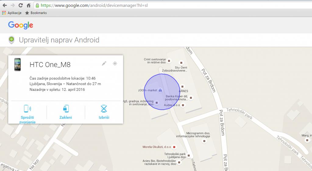 Navodila za lastnike telefona Android: V aplikaciji Android device manager lahko na daljavo sprožite zvonjenje, zaklenete telefon ali izbrišete vse podatke. Pogrešano napravo s sistemom Android lahko poiščete, če je povezana z Google računom.