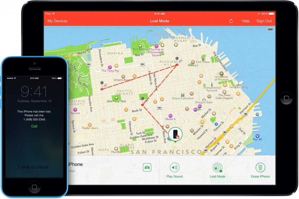 Če pogrešate Applovo napravo, se vpišite v iCloud račun ali pa uporabite aplikacijo Find My iPhone, ki bo napravo locirala na zemljevidu. Funkcionalnost Lost Mode celo pokaže, kje se je naprava nahajala v vmesnem času. Nato lahko napravo zaklenete in pošljete SMS s kontaktno številko, najditelj pa vas lahko pokliče z zaklenjenega zaslona, na da bi pri tem dostopal do katerih koli drugih podatkov na vaši napravi. (Vir: http://www.apple.com/)