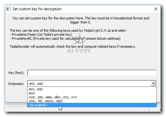 Pojavno okno programa TeslaDecoder, kjer izberete končnico zašifrirane datoteke