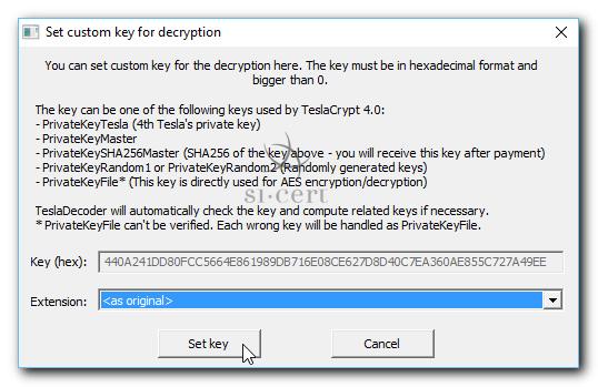 Pojavno okno programa TeslaDecoder, kjer prikazuje klik gumba Set key