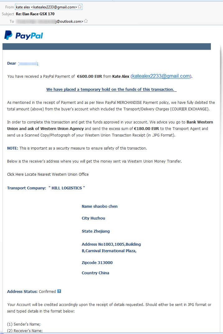 Primer lažnega elektronskega sporočila s PayPala