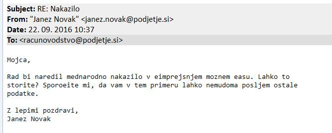 Primer lažnega elektronskega sporočila