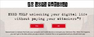 Prva stran portala NoMoreRansom.org