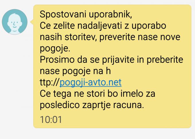 Primer phishing sms sporočila