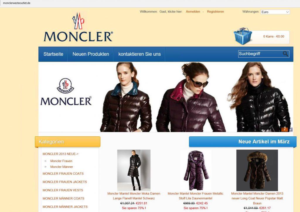 Primer trgovine s ponaredki Moncler