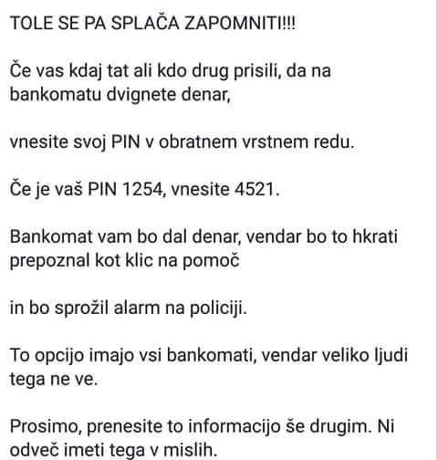 Neresnična objava, ki trdi, da bo vpis naše bančne PIN številke na bankomatu sprožil alarm na policiji.