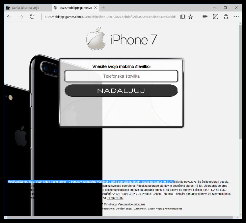Zaslon, kjer naj bi vpisali svojo telefonsko številko, da bi prejeli iPhone 7