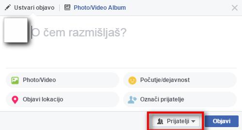 Okence za vpis statusa na Facebooku in nastavitve, kdo ga bo videl.