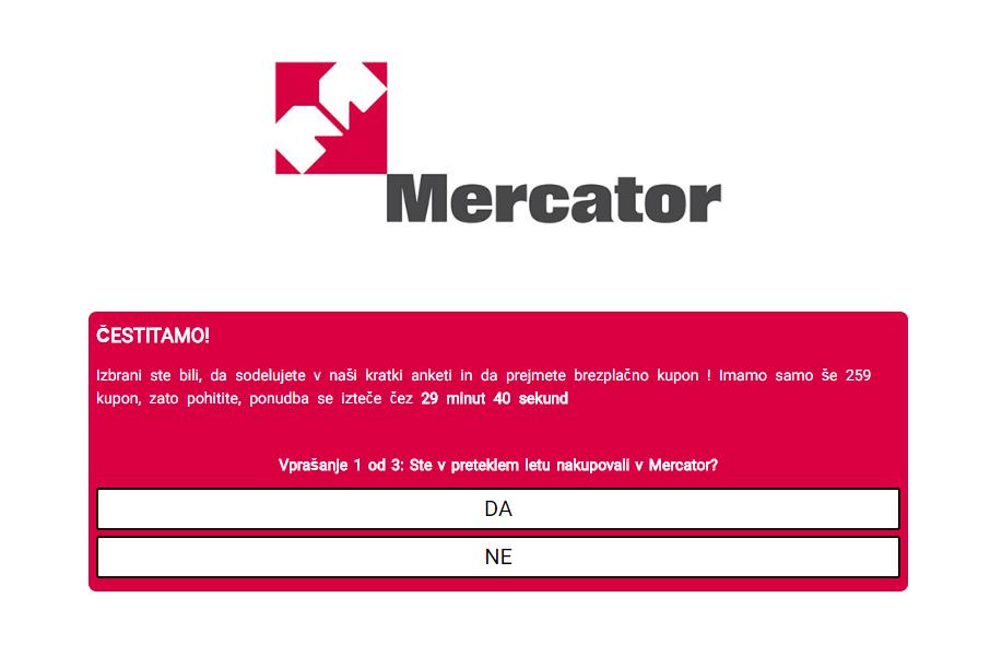 Lažno sporočilo s strani Mercatorja