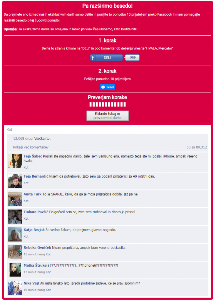 Slika oglasa, pod katerim so lažni komentarji Facebook uporabnikov