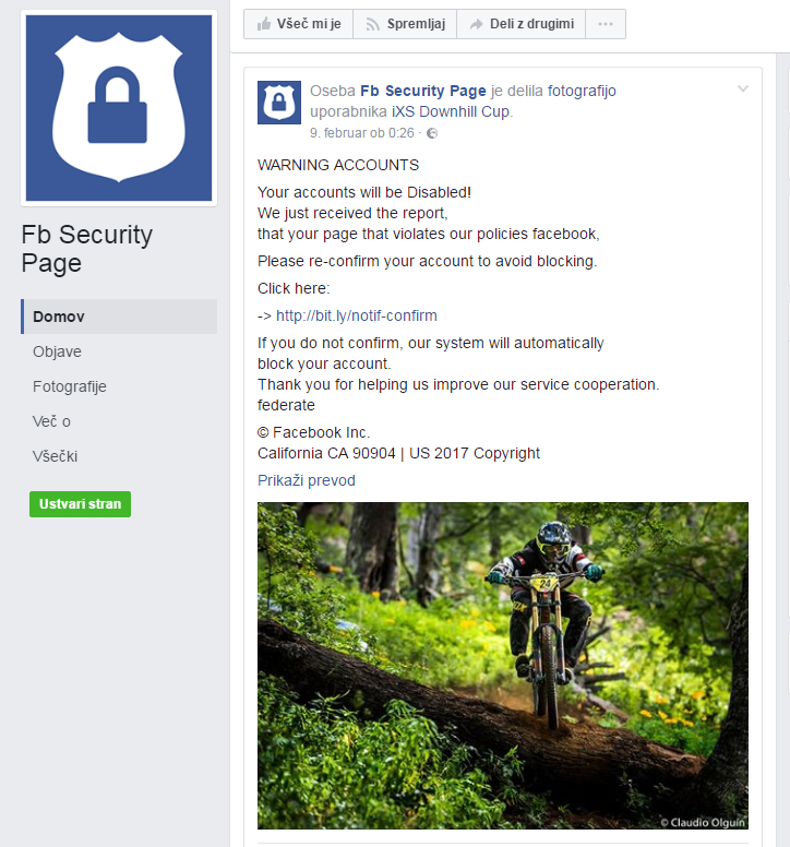 Facebook zaslon, kjer vidimo primer komentarja s strani goljufa