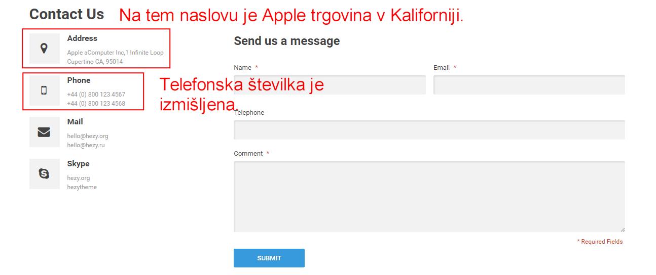 Zaslon, ki prikazuje lažne kontaktne podatke spletne trgovine