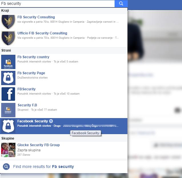 Slika strani, ki zbujajo vtis, da so povezane s podjetjem Facebook
