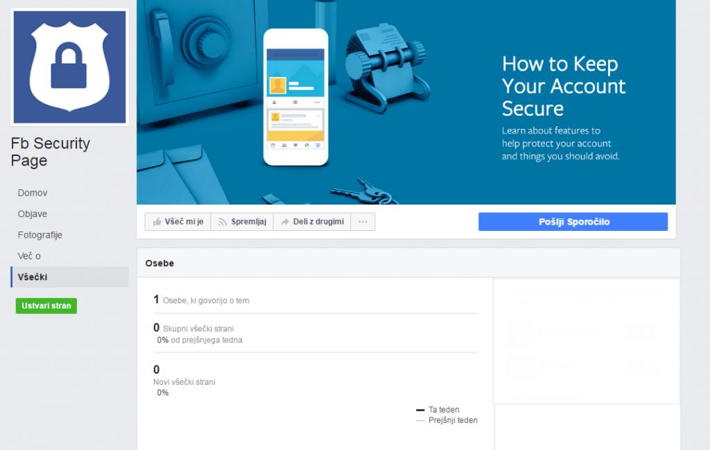 """Primer lažne strani, ki se predstavlja kot """"Facebook Security"""""""