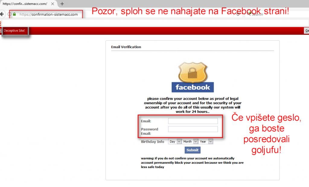 Stran, namenjena kraji Facebook gesel