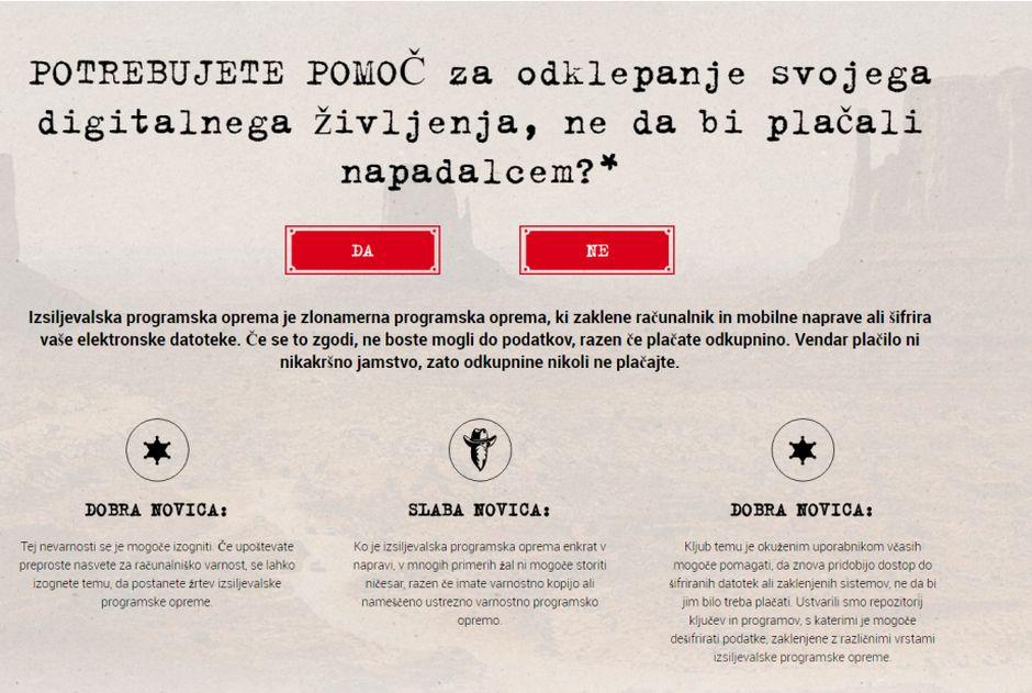 Prva stran portala No More Ransom v slovenščini