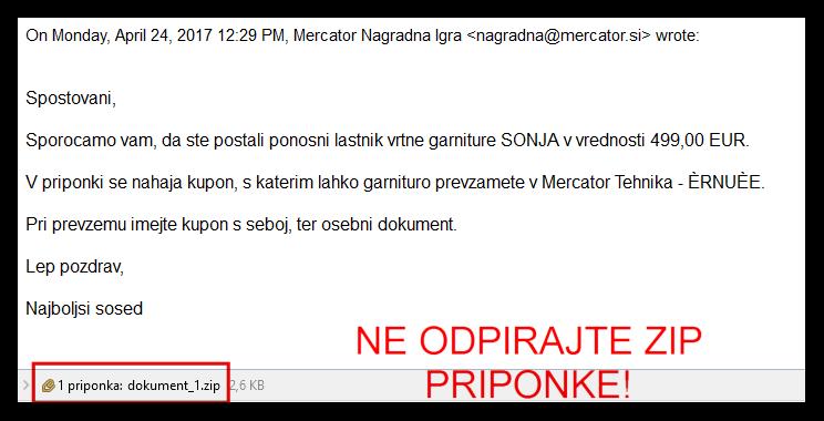 Primer elektronskega sporočila, ki vsebuje virus v ZIP priponki
