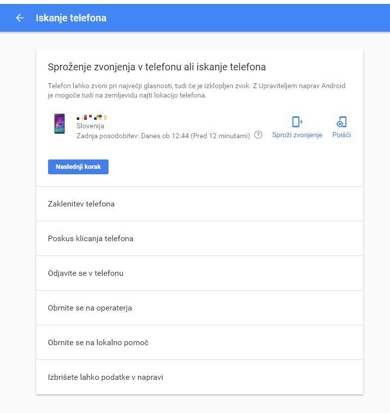 Pojavno okno znotraj Google računa za iskanje telefona