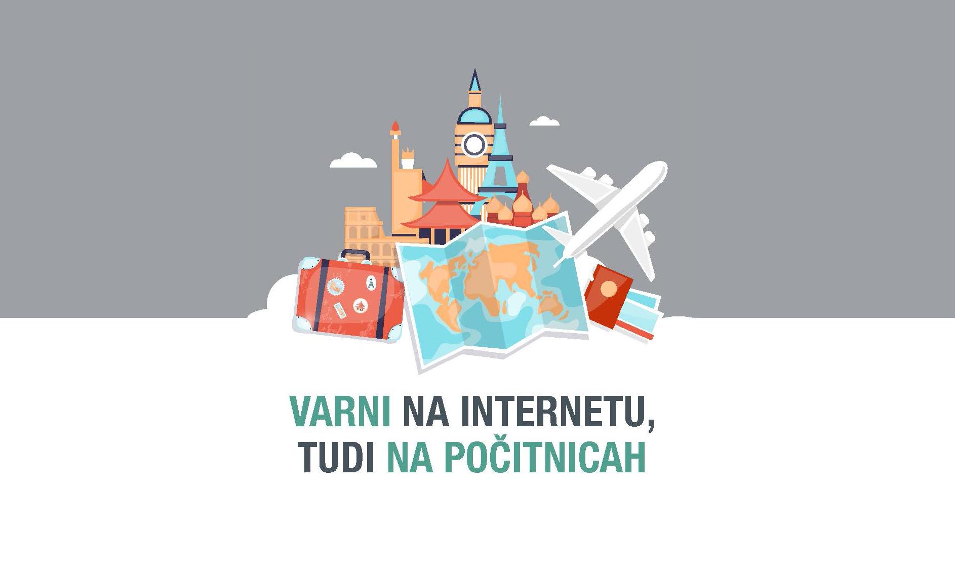 Naslovnica priročnika Varni na počitnicah, na kateri so znane stavbe, kovčki in letalo