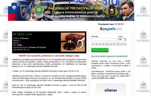 Primer izsiljevalskega obvestila na zaslonu, ki zahteva plačilo prek PaySafe kartice za odklep računalnika.