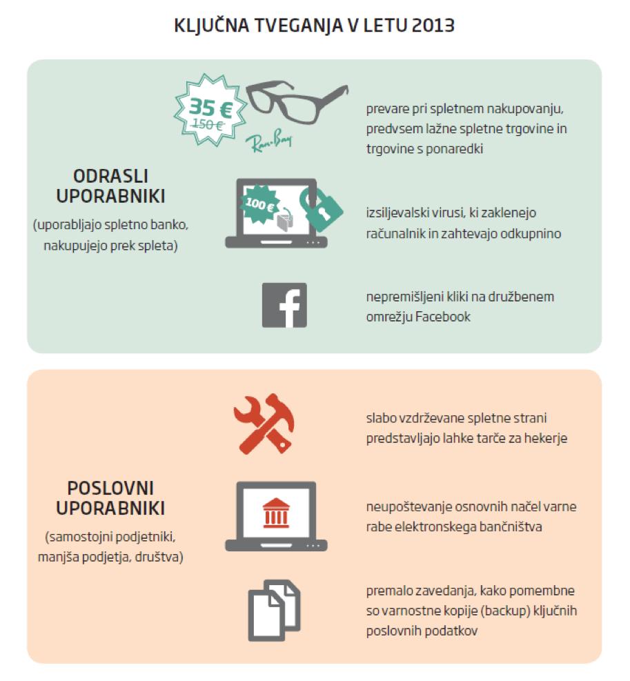 Grafika prikazuje ključna tveganja v letu 2013 tako za odrasle uporabnike (prevare pri spletnem nakupovanju, izsiljevalski virusi, Facebook prevare)  kot tudi podjetja (slabo vzdrževane spletne strani, vdori v e-bančništvo, varnostne kopije).