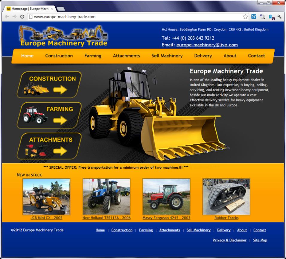Primer lažne spletne trgovine s traktorji  - posnetek zaslona spletne strani.