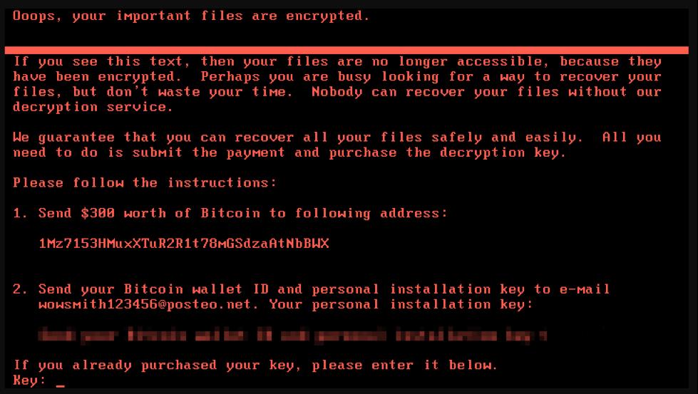Na grafiki je viden primer obvestila na zaslonu, ki ga pusti virus po zašifriranju vseh dokumentov.