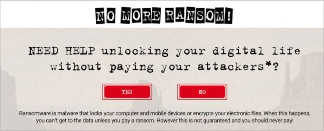 Portal nomoreransom.org nudi rešitve za določene vrste izsiljevalskih virusov. Na grafiki je posnetek zaslona spletnega portala.